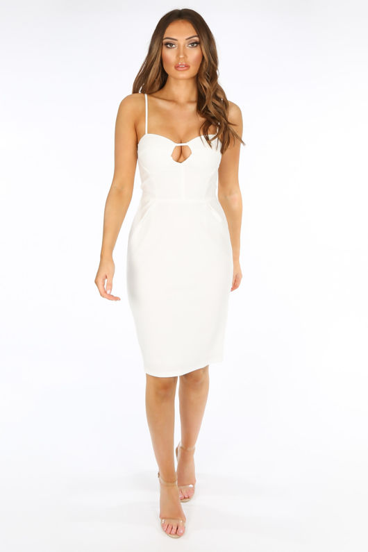 Plunge Bra Cup Bodycon Dress In White