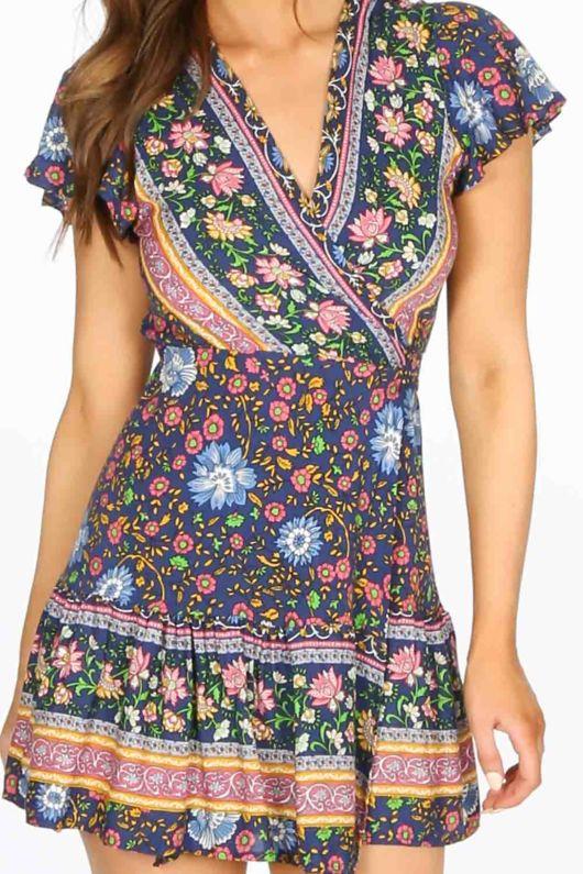 Navy Boho Floral Wrap Mini Dress