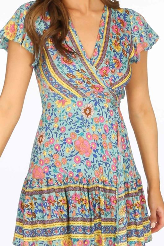 Turquoise Boho Floral Wrap Mini Dress