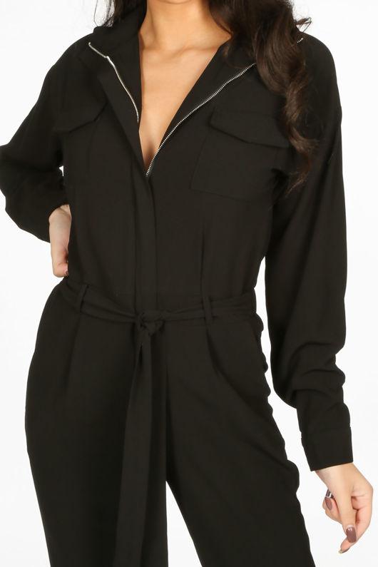 Black Zip Front Boiler Suit