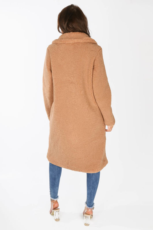 Borg Teddy Coat In Brown