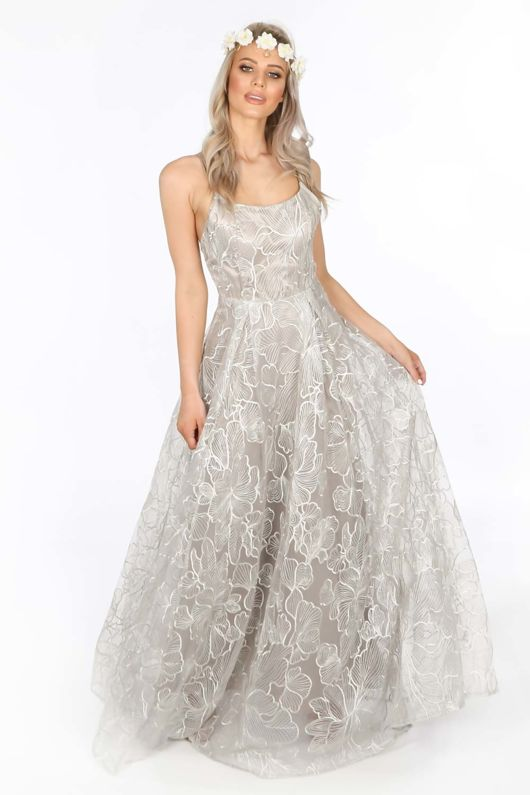 Bridal Grey Floral Embroidered Lace Maxi Dress