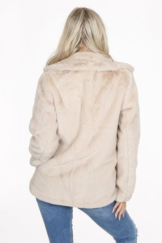 Beige Double Button Faux Fur Jacket
