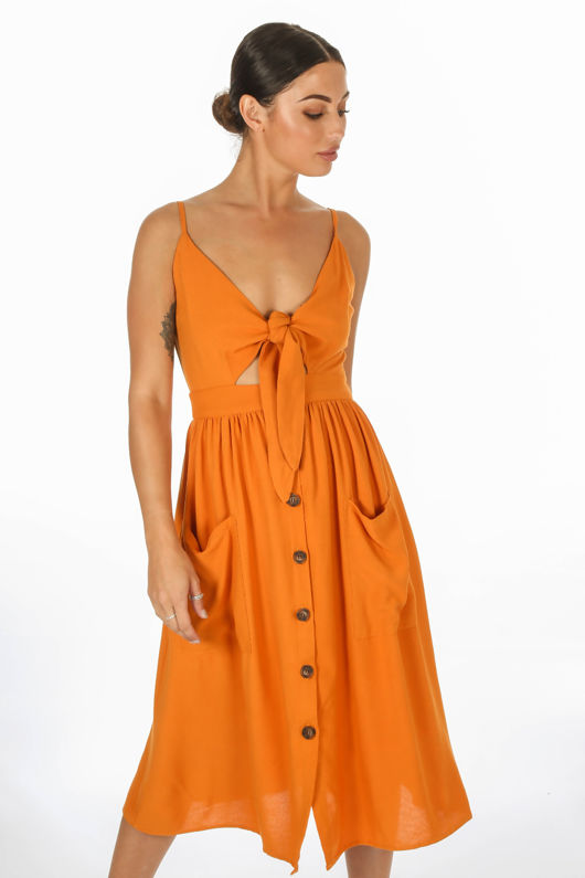 Button Front Day Dress In Tan