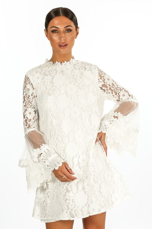 Mesh & Lace Shift Dress In White