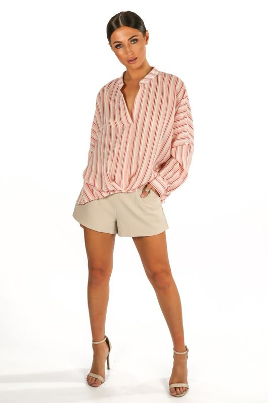 Striped Gathered Pleat Blouse In Pink