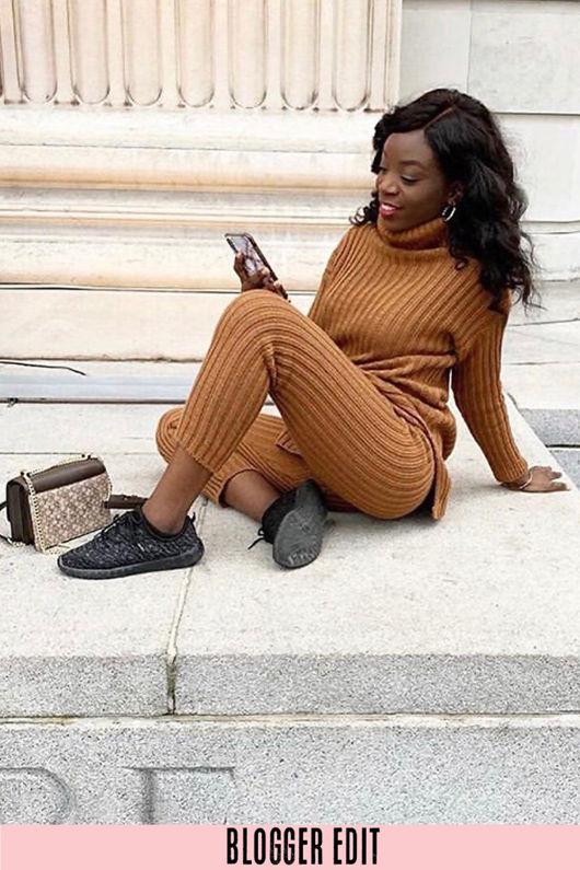 Tan Knitted Longline Jumper & Leggings Set