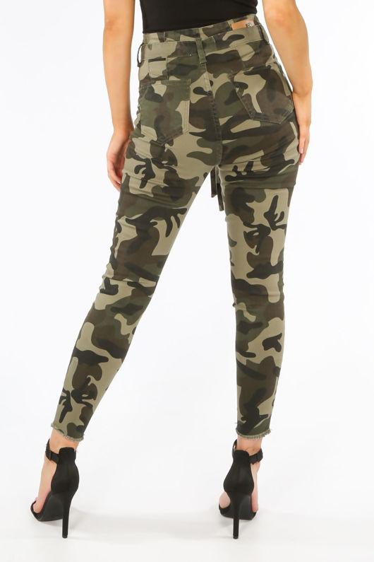 Khaki Camo Paperbag Jeans