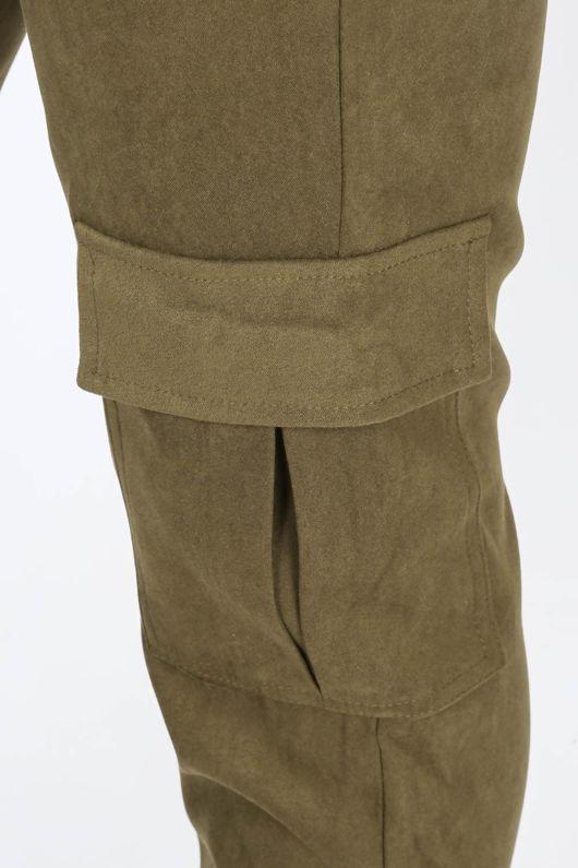 Faux Suede Cargo Trouser In Khaki