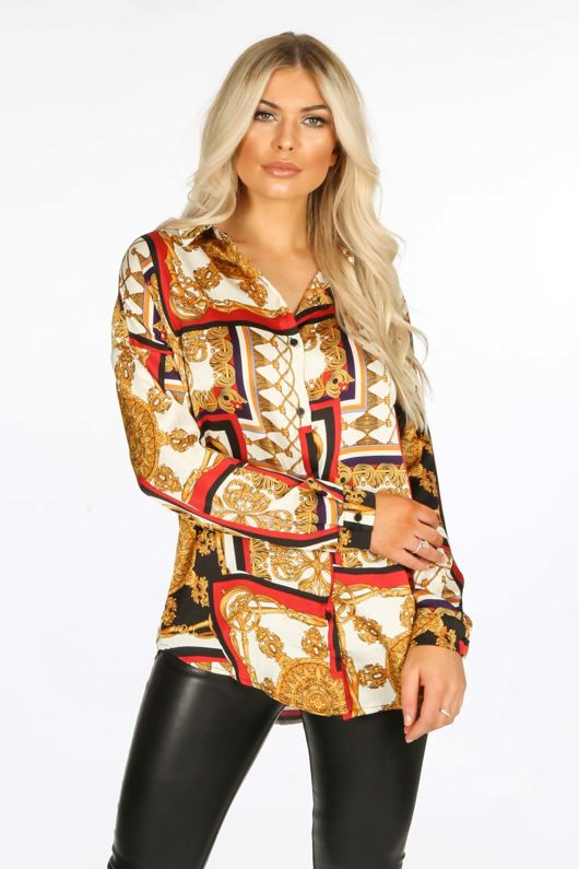 Red Scarf Print Blouse