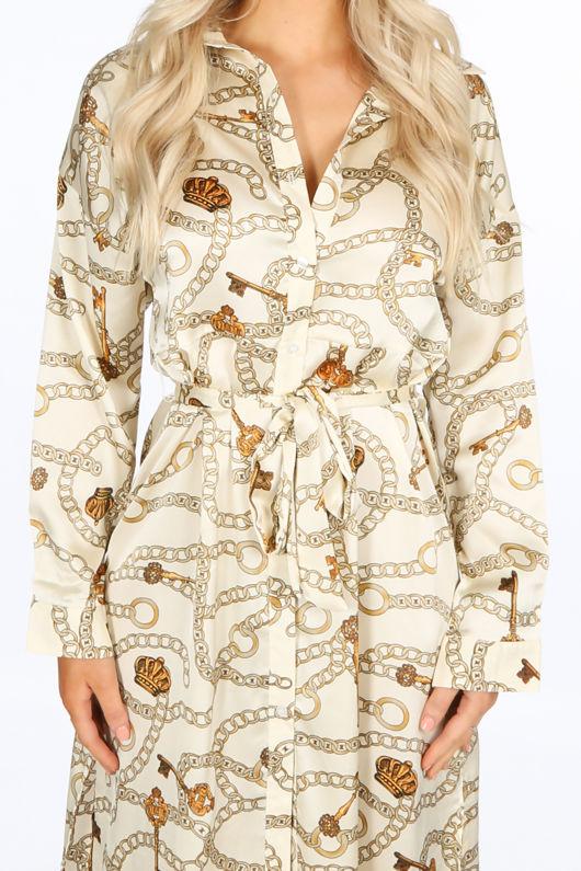 Chain Print Belted Midi Dress