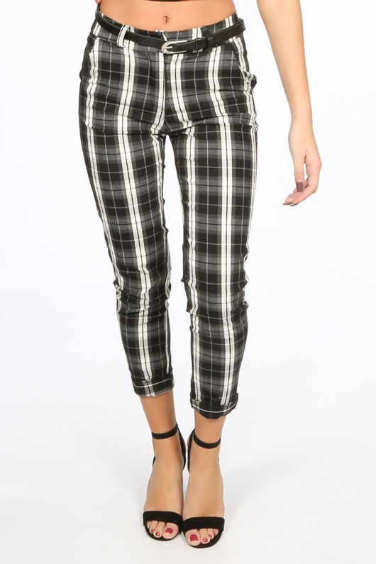 Black Check Trouser With Belt