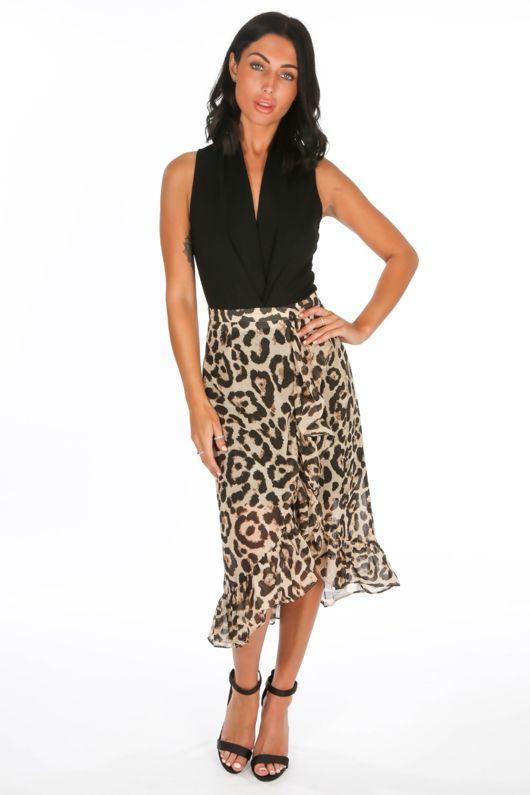 1c473208572e Chiffon Leopard Print Wrap Midi Skirt