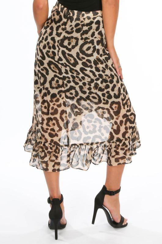 Chiffon Leopard Print Wrap Midi Skirt