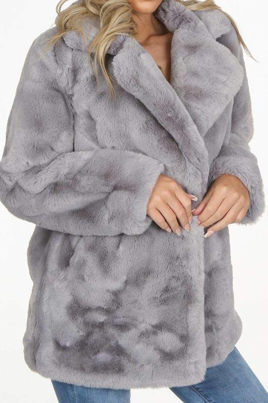 Luxe Grey Chunky Faux Fur Coat