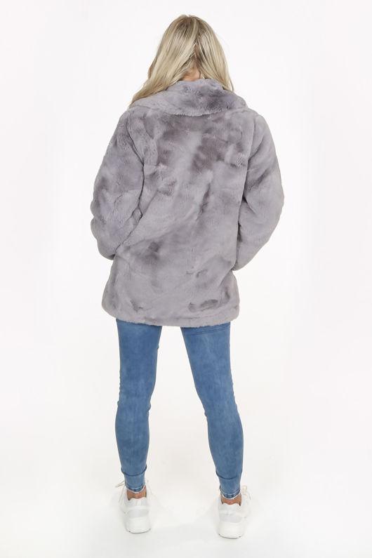 Luxe Grey Chunky Faux Fur Coat