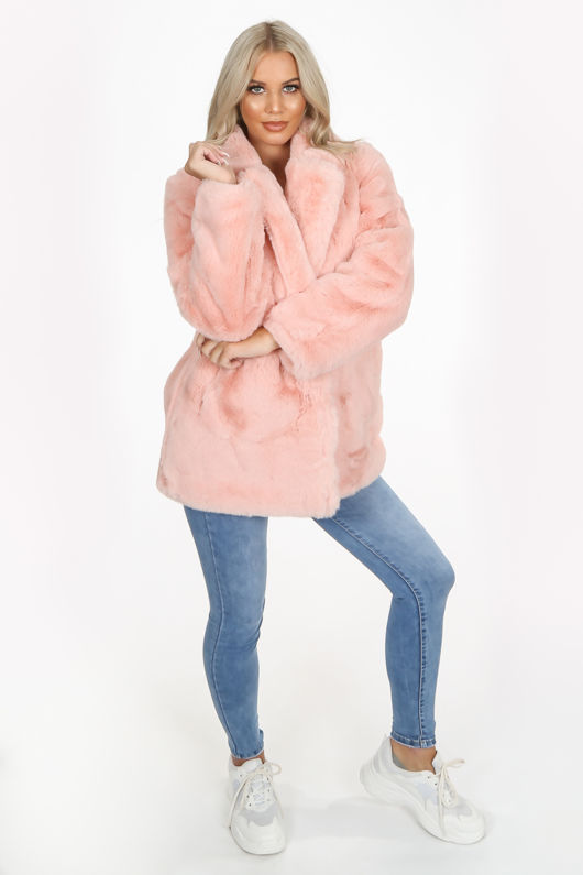 Luxe Pink Chunky Faux Fur Coat