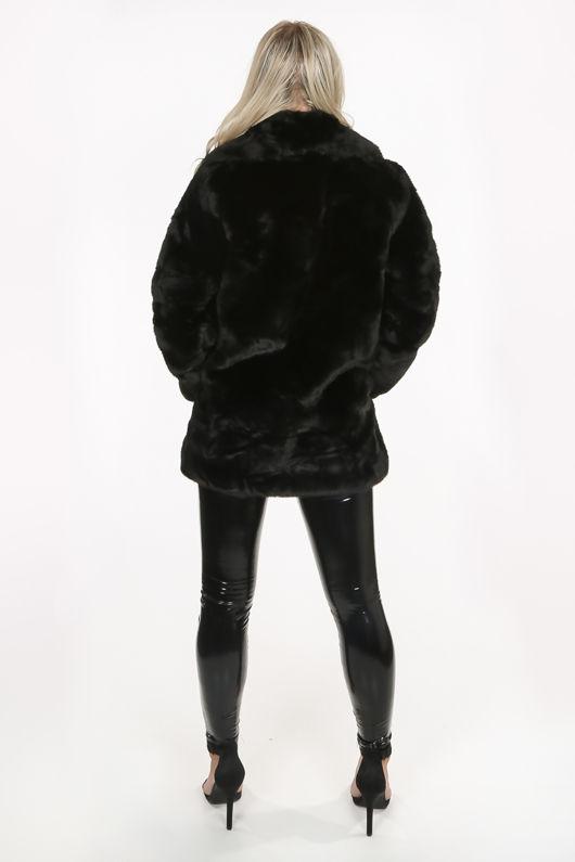 Luxe Black Chunky Faux Fur Coat