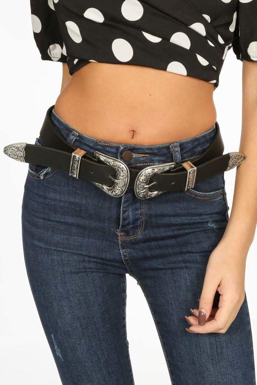 Chunky Silver Double Buckle Belt