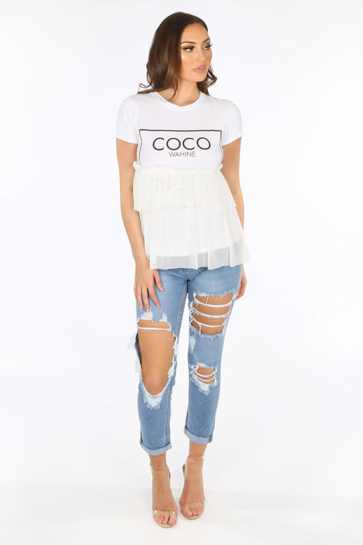 White Coco Slogan Tulle T-Shirt