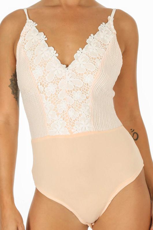 Contrast Crochet Bodysuit In White
