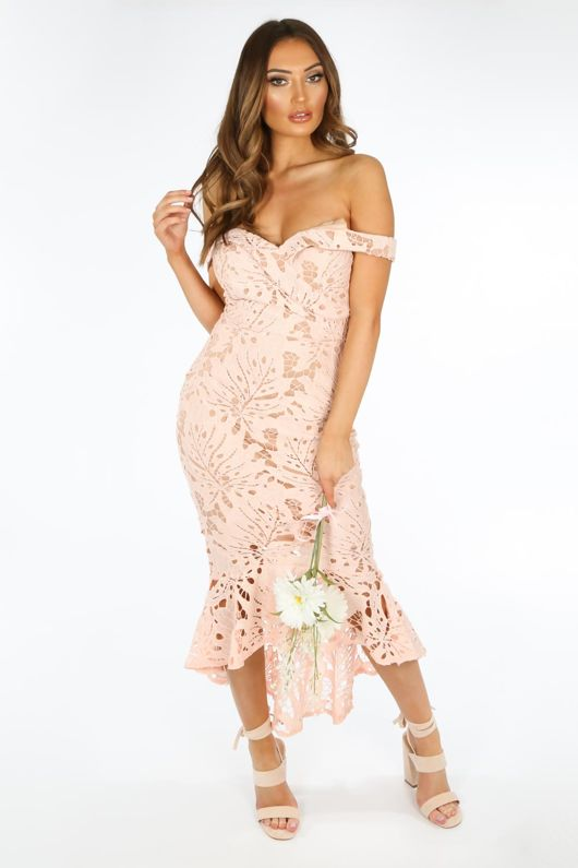 Pink Contrast Crochet Midi Fishtail Dress