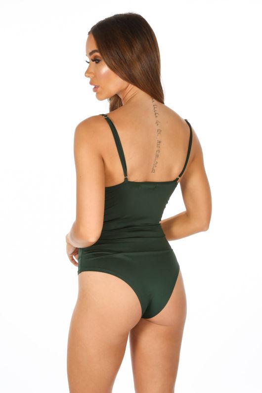 Contrast Eyelash Lace Bodysuit In Khaki