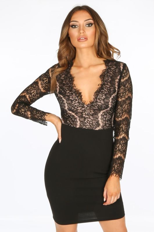 Black V-Neck Contrast Lace Bodycon Dress