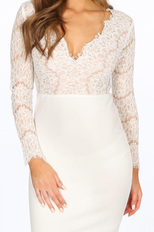 62a9e24263 White V-Neck Contrast Lace Bodycon Dress