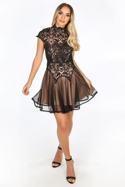 Black Contrast Crochet Skater Dress