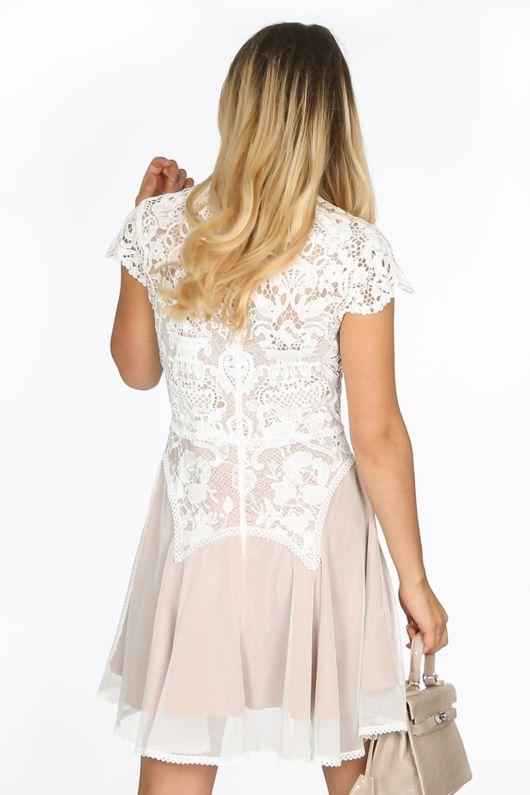White Contrast Crochet Skater Dress