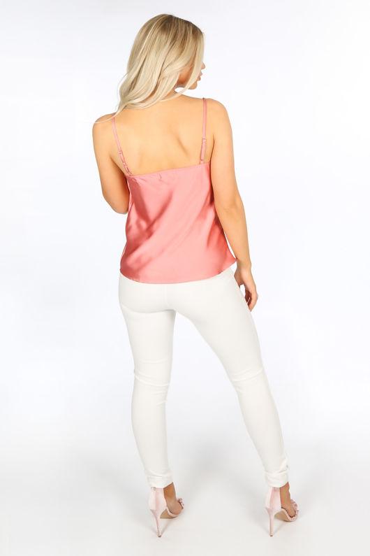 Pink Satin Cowl Neck Cami Top