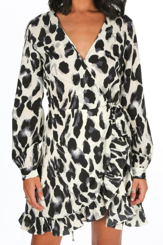 Cream Leopard Print Frill Wrap Dress