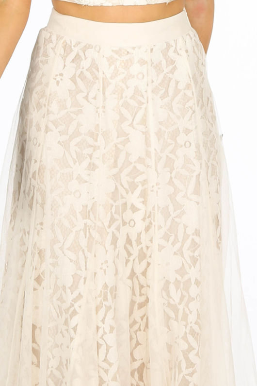 Cream Tulle Crochet Midi Skirt