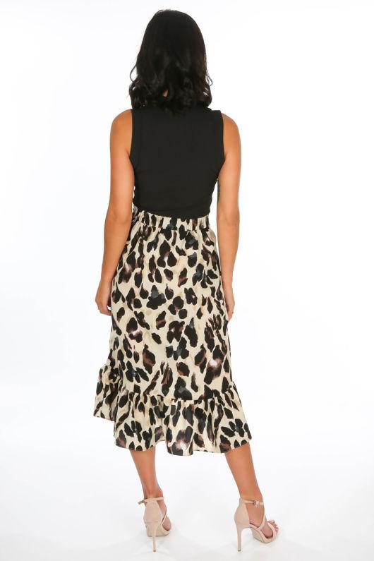 Cream Leopard Print Wrap Midi Skirt