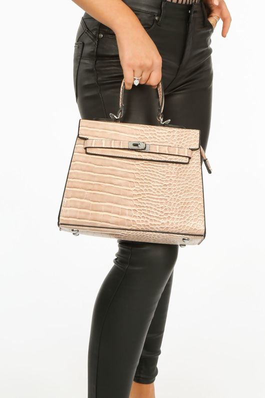 Faux Croc Skin Tote Bag In Nude