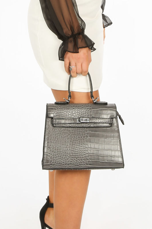 Faux Croc Skin Tote Bag In Grey