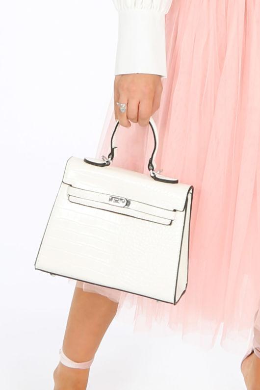 Faux Croc Skin Tote Bag In White