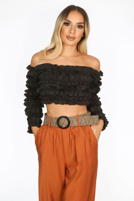 Black Ruffle Long Sleeve Crop Top