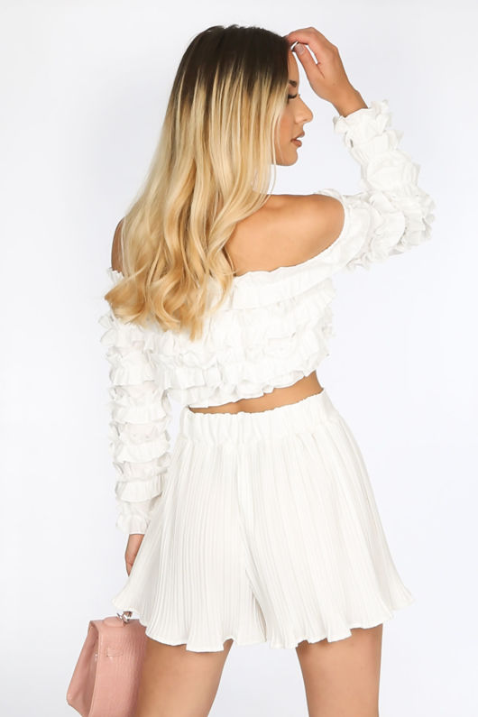 White Ruffle Long Sleeve Crop Top