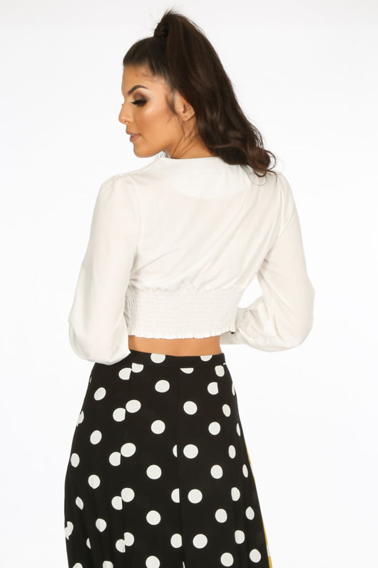 Cropped Button Front Blouse In White