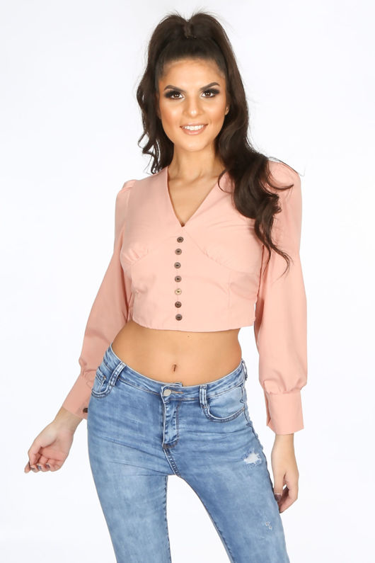 Cropped Button Front Blouse In Pink