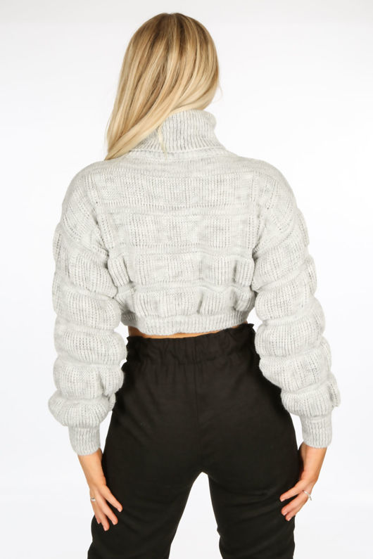 Grey Cropped High Neck Jumper