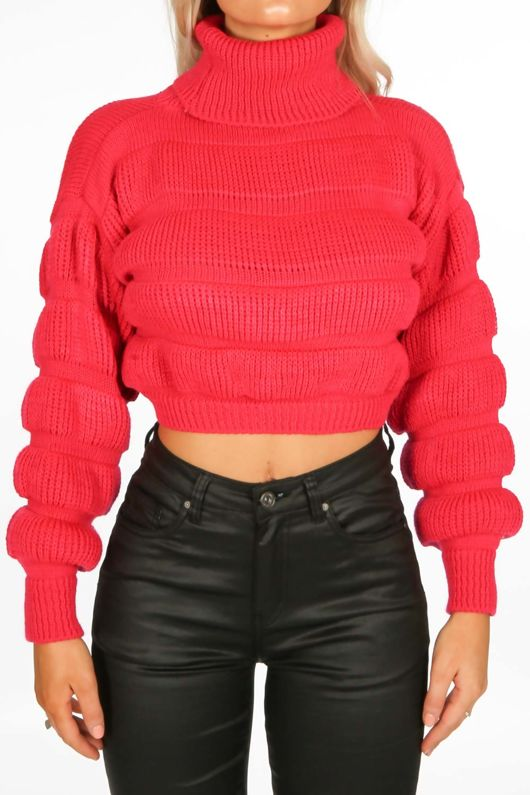 Magenta Cropped High Neck Jumper
