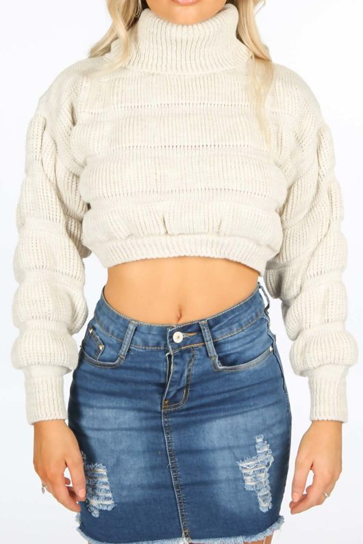 Beige Cropped High Neck Jumper