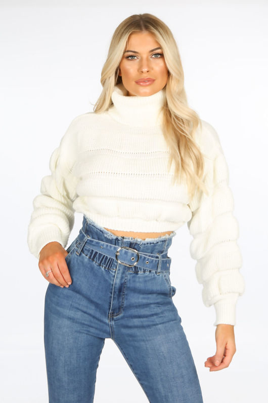 Cream Cropped High Neck Jumper