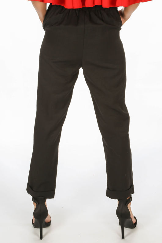 Cropped Paper Bag Trouser In Black