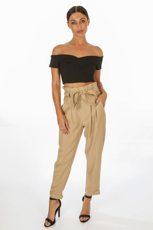 look good shoes sale elegant and graceful online here Cropped Paper Bag Trouser In Taupe