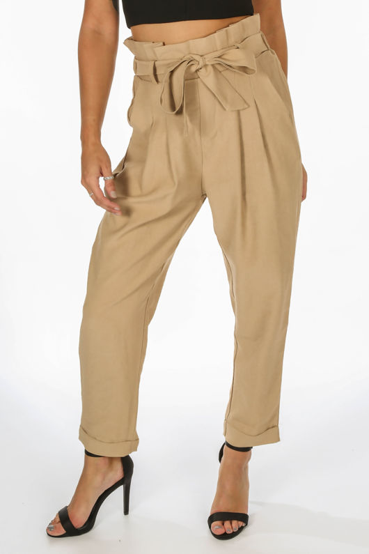 Cropped Paper Bag Trouser In Taupe