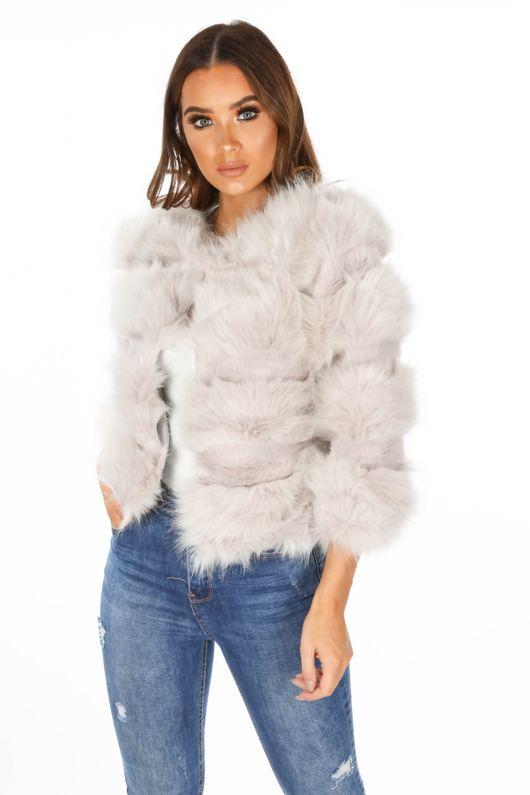 Cropped Super Soft Faux Fur Jacket In Light Grey